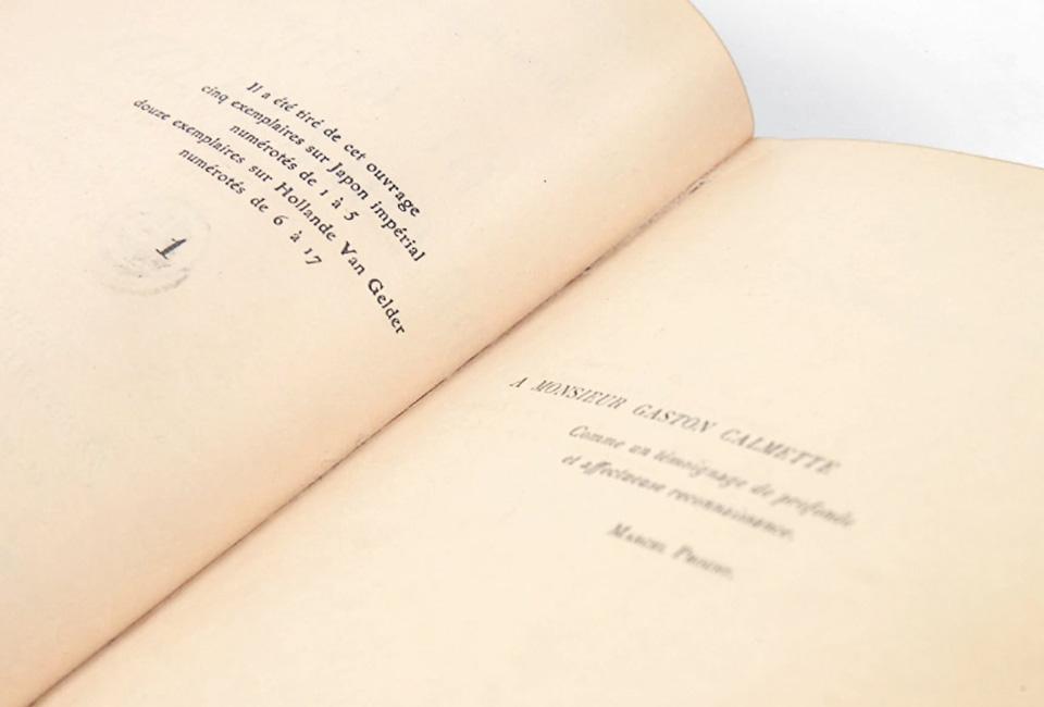 """""""Il a été tiré de cet ouvrage cinq exemplaires sur Japon impérial numérotés de 1 à 5"""". © Pierre Bergé & Associés."""