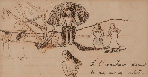 Paul Gauguin, lettre autographe signée enrichie d'un dessin original, vers 1896. Photo : © Collections Aristophil.