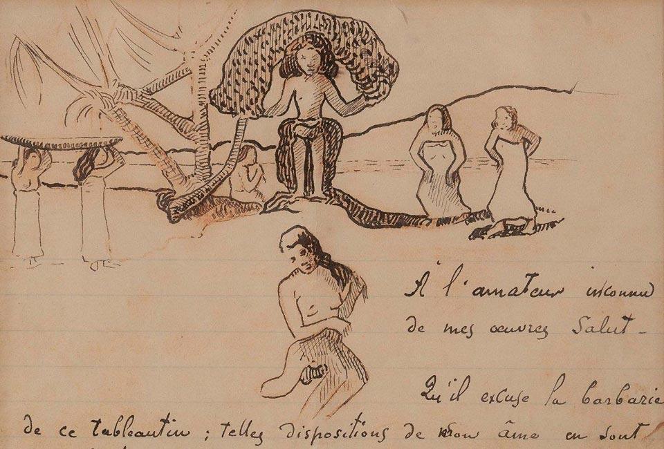 Paul Gauguin, lettre autographe signée enrichie d'un dessin original, vers 1896. Photo : © Collections Aristophil.