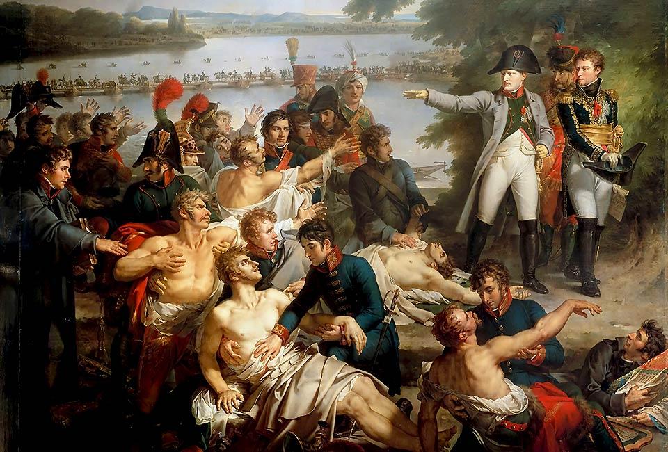 Charles Meynier, Retour de Napoléon Ier dans l'île de Lobau sur le Danube après la bataille d'Essling. © Château de Versailles.