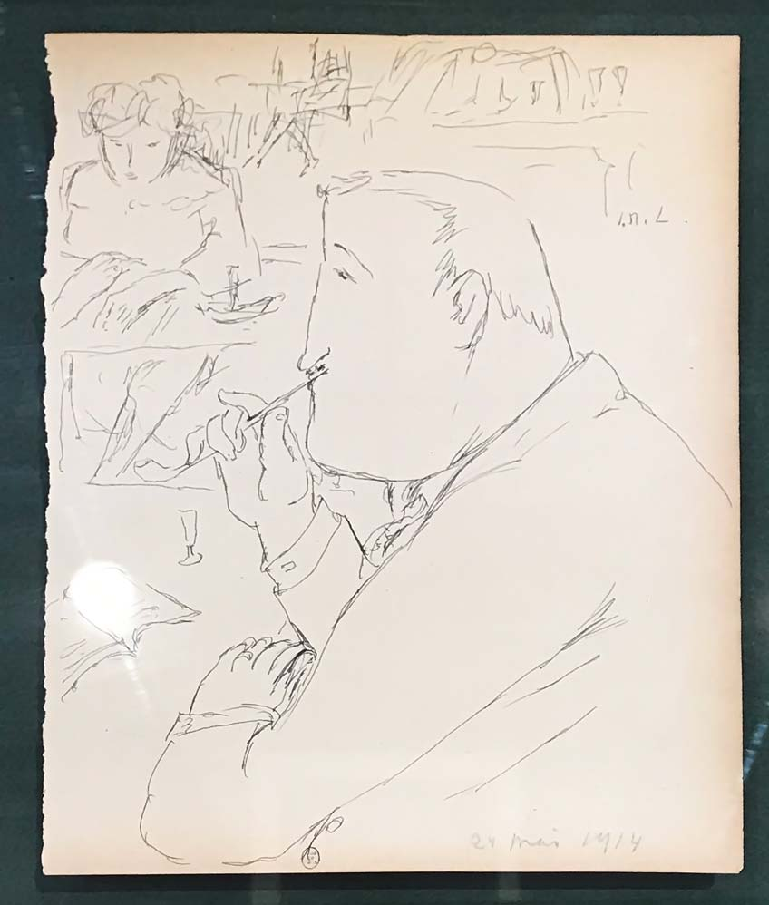 Michel Larionov, Guillaume Apollinaire au café de Flore, 24 mai 1914, dessin au crayon. © Passéisme.