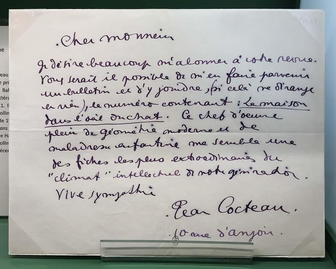 Jean Cocteau, lettre autographe à Guillaume Apollinaire, 1914. © Passéisme.