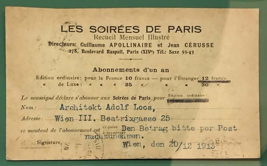 Adolf Loos, carte d'abonnement aux Soirées de Paris pour 1914, 1913. © Passéisme.