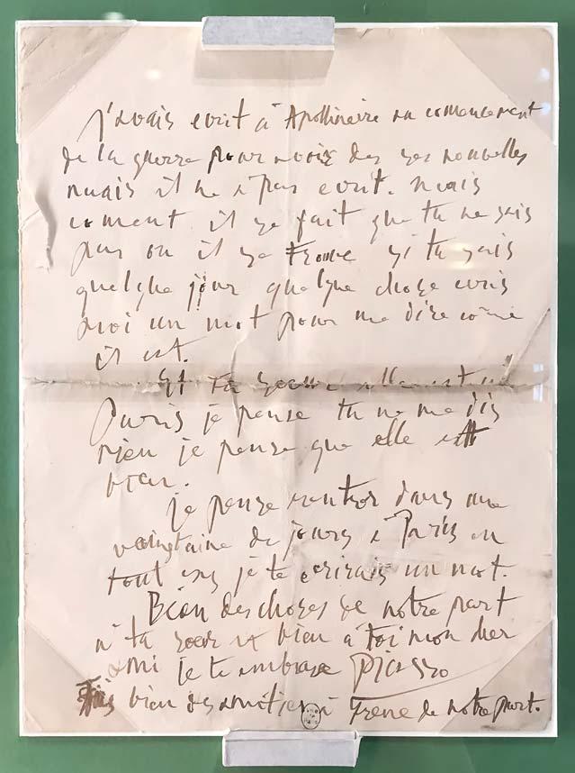 Pablo Picasso, lettre autographe à Serge Férat, 1915. © Passéisme.