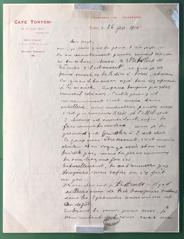 Guillaume Apollinaire, lettre autographe à Serge Férat, Nîmes, 26 février 1915. © Passéisme.