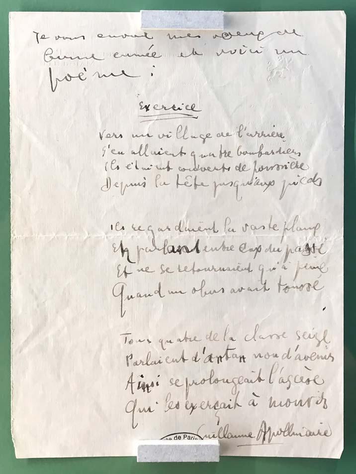 Guillaume Apollinaire, lettre autographe à Jacques Dyssord, Nîmes, 17 mars 1915. © Passéisme.
