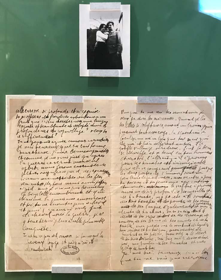 Photographie de Guillaume Apollinaire et Madeleine Pagès à Oran en 1915 et lettre autographe du poète adressée à Madeleine, le 3 novembre 1915. © Passéisme.