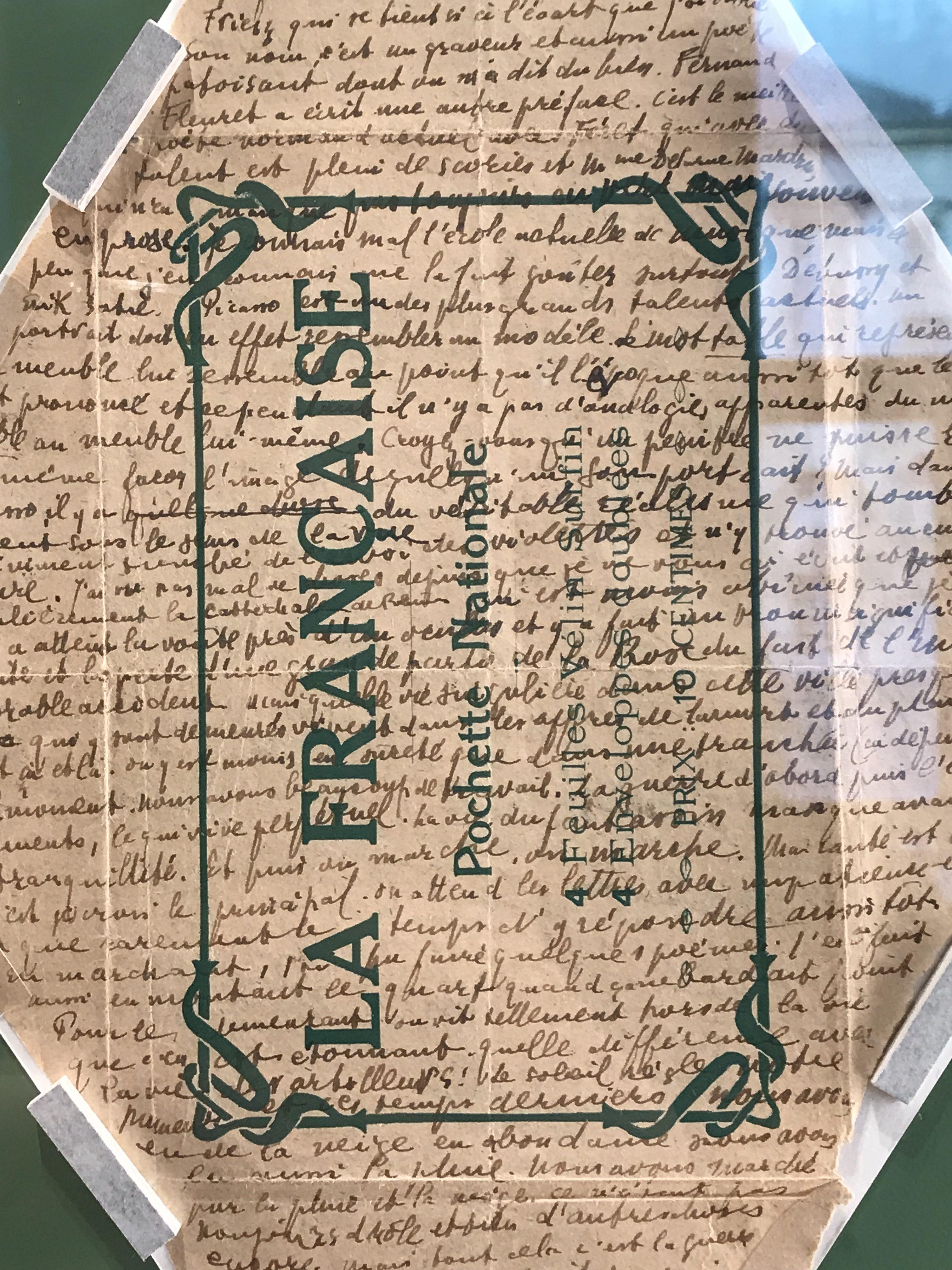 Guillaume Apollinaire, lettre autographe à Georgette Catelain, 12 mars 1915, écrite sur une pochette d'emballage de papiers à lettre. © Passéisme.