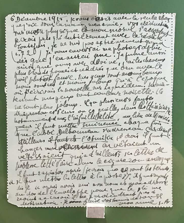 Guillaume Apollinaire, lettre autographe à Jeanne-Yves Blanc (Burgues-Brun), 6 décembre 1915. © Passéisme.