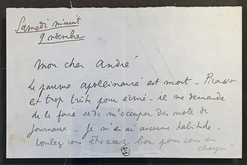 Jean Cocteau, lettre autographe à André Salmon, 9 novembre 1918. © Passéisme.