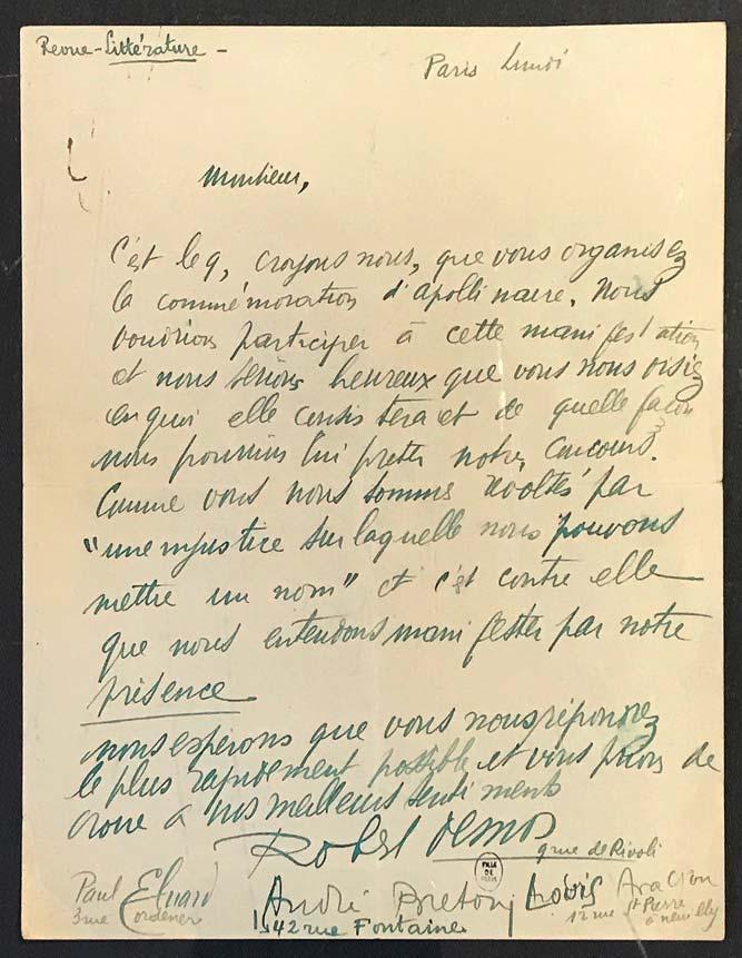 Robert Desnos, Paul Eluard, André Breton et Louis Aragon, lettre autographe à un correspondant non identifié (Serge Férat ?), à en-tête de Littérature, novembre 1912 (?). © Passéisme.