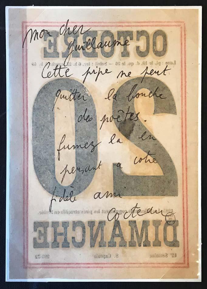 Jean Cocteau, lettre autographe à Guillaume Apollinaire, 20 octobre 1918. ©
