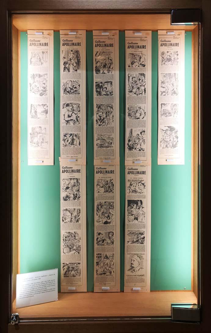 """""""Les grands écrivains : Guillaume Apollinaire"""", dessins de Montjardin, Le Soir, 6-14 octobre 1960. © Passéisme."""