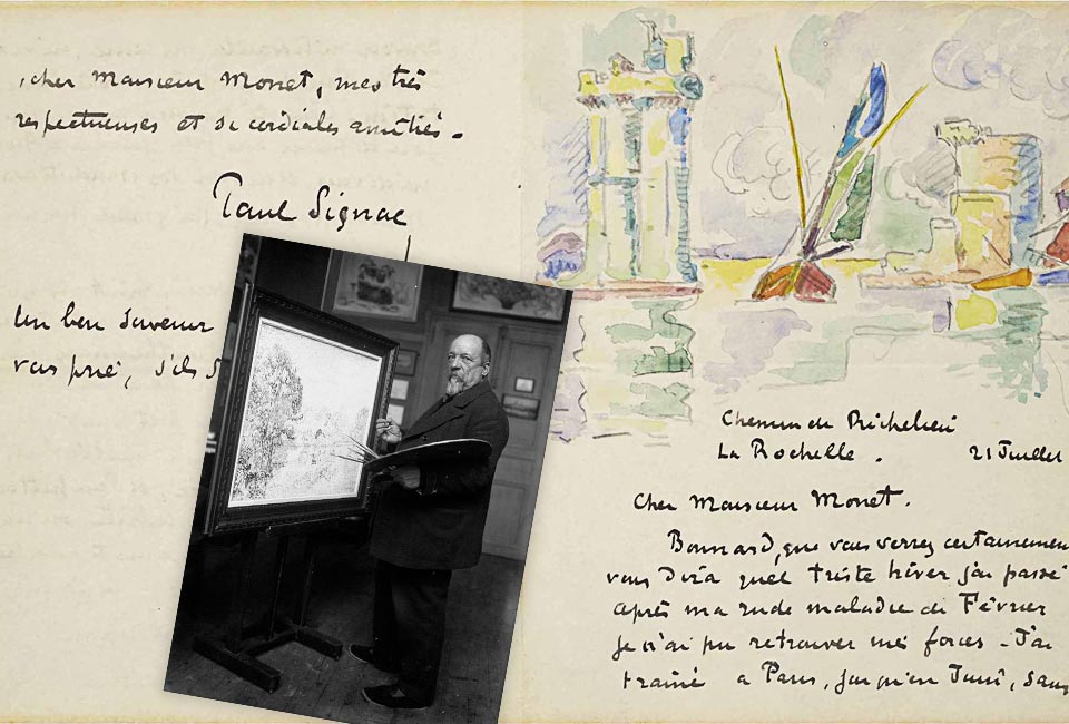 Lettre autographe signée, Paul Signac à Claude Monet, 21 juillet 1920 (crayon et encre sur papier plié), / Collection privée / Photo © Christie's Images / Bridgeman Images.