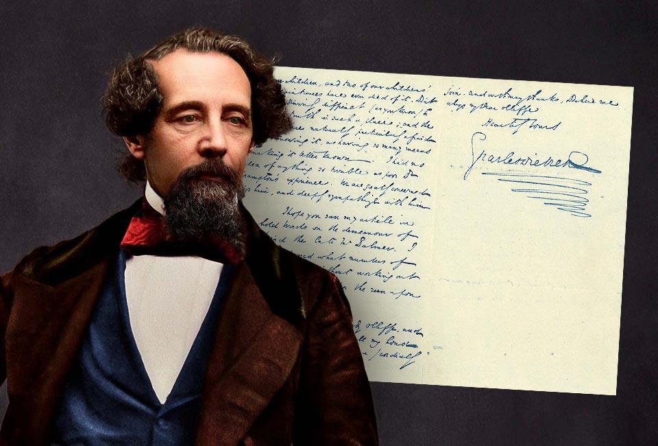 Version colorisée d'une photographie en noir et blanc de Charles Dickens prise en 1858. © Charles Dickens Museum / Oliver Clyde.