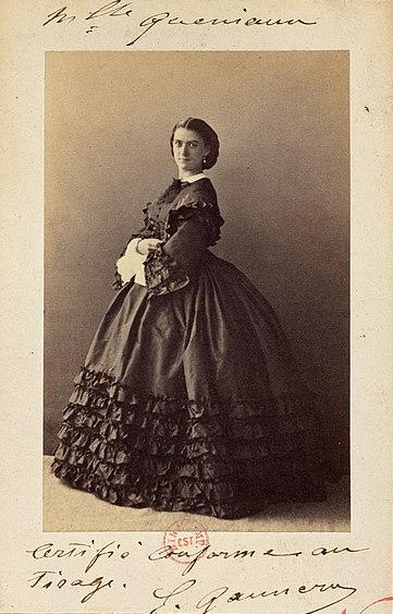 Constance Quéniaux photographiée par Pesme, 1861.