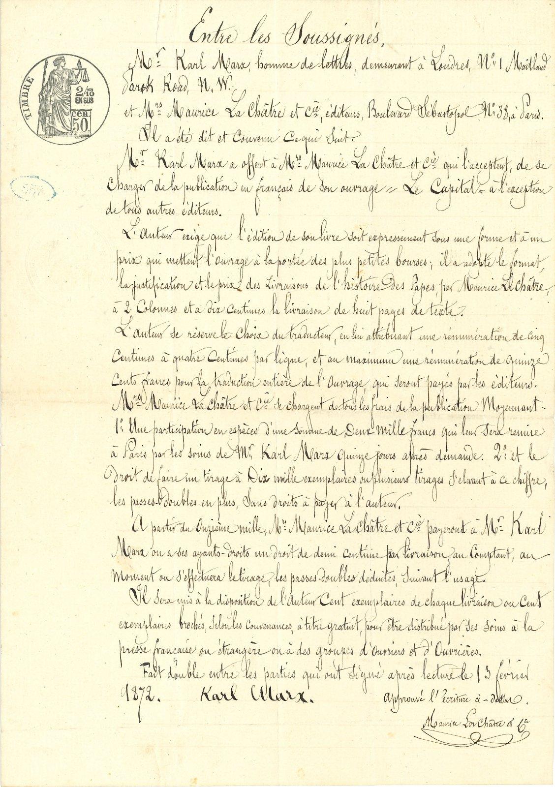Contrat pour l'édition de la traduction française du Capital, signé par Karl Marx et Maurice Lachâtre. © Ader Nordmann
