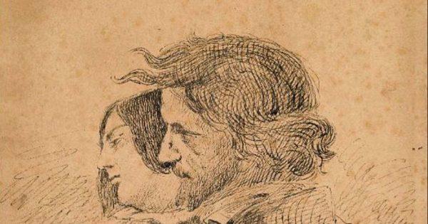 Gustave Courbet, Les Amants dans la campagne, vers 1867. Encre sur papier, 28,7 x 20 cm. Ornans, Musée Gustave Courbet. © Musée Gustave Courbet / Photo : Pierre Guenat.