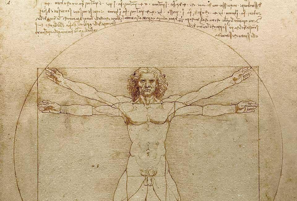 Léonard de Vinci, L'Homme de Vitruve, plume, encre et lavis sur papier, vers 1492, Gallerie dell'Accademia de Venise.