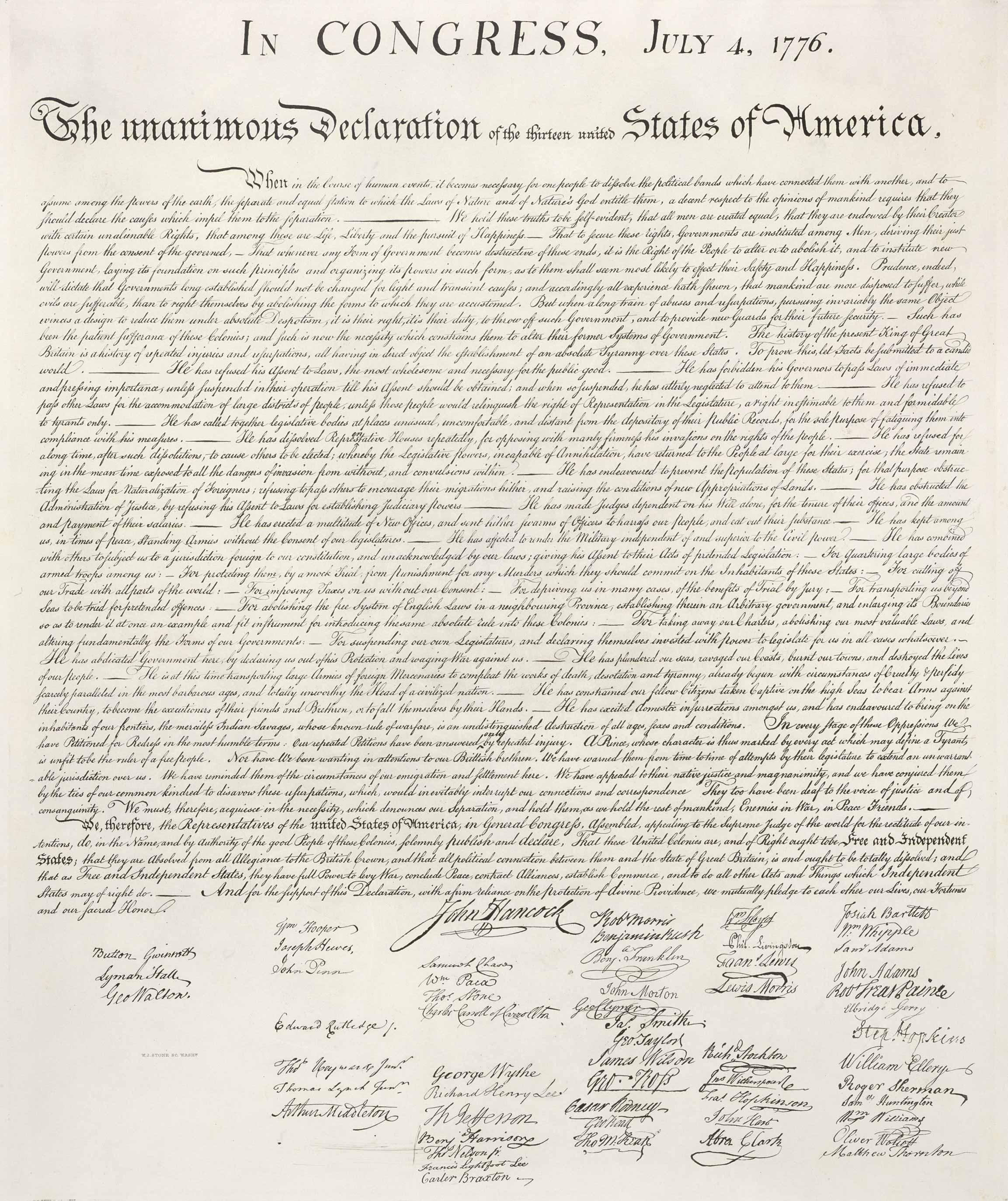 Fac-simile William Stone de la Déclaration d'indépendance des États-Unis, 1823.