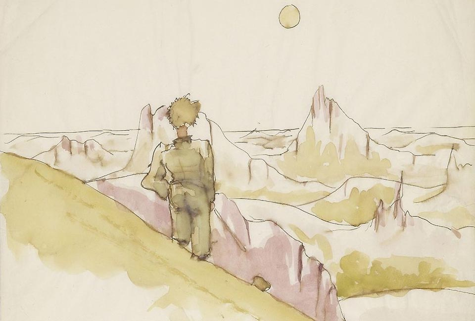 Antoine de Saint-Exupéry, croquis pour Le Petit Prince. The Morgan Library & Museum, New York, © Estate of Antoine de Saint-Exupéry. Photo : Graham S. Haber, 2013.