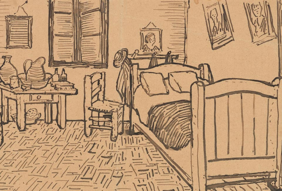 Croquis de la chambre à coucher, joint à une lettre de Vincent van Gogh à Theo van Gogh. © Musée Van Gogh (JH1609).