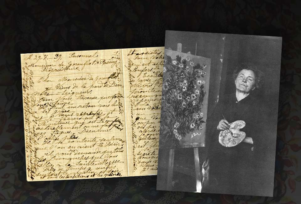 Lettre de Séraphine Louis, 29 juillet 1939, Hôpital psychiatrique Clermont de L'Oise. © Musée Henri Theillou. Photographie de Séraphine Louis par Mademoiselle Anne-Marie Uhde, années 1920-1930.