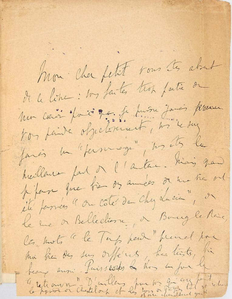 Envoi autographe de Marcel Proust à Lucien Daudet. © Pierre Bergé & Associés.