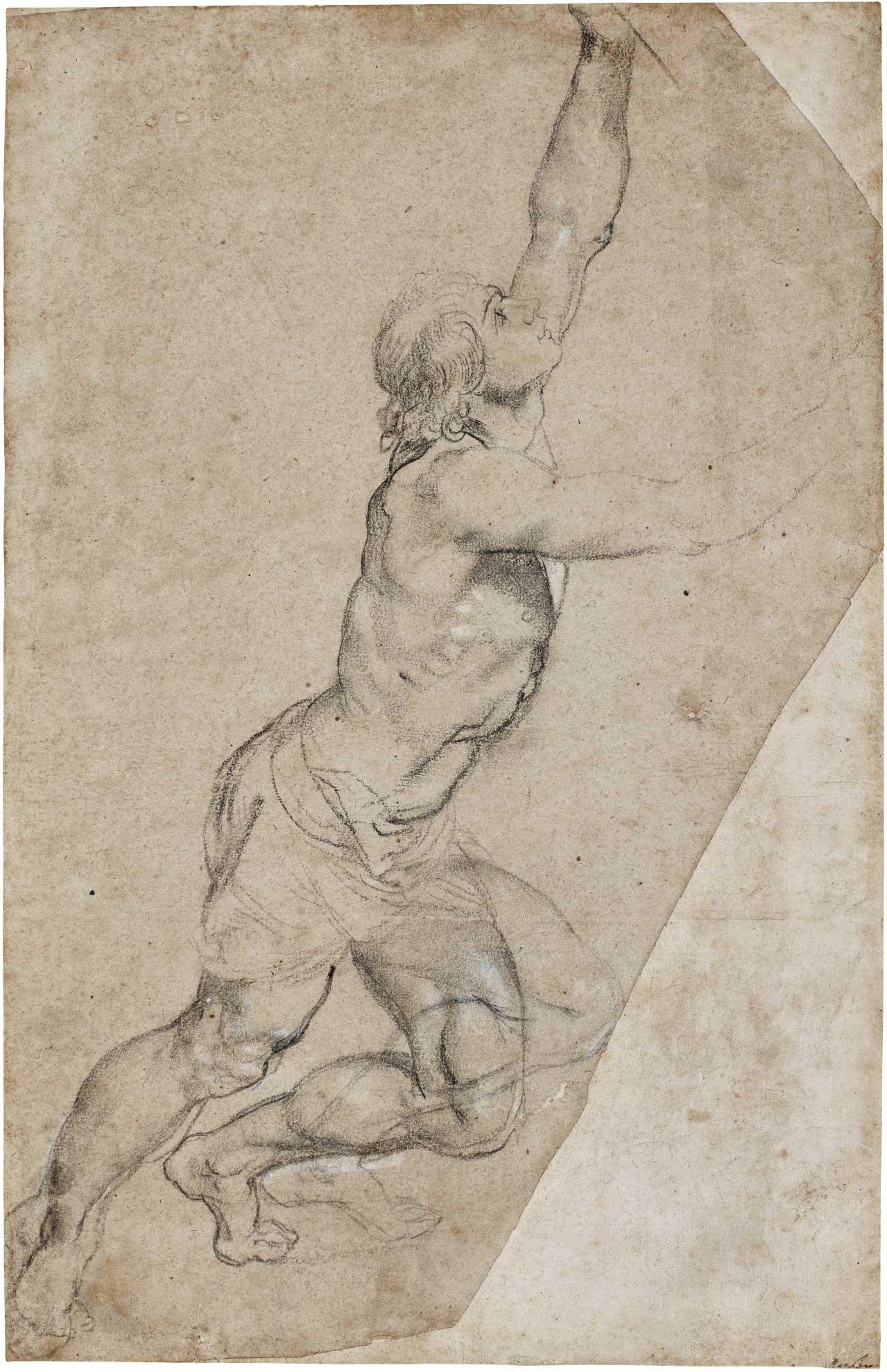 Pierre Paul Rubens, étude d'un jeune homme aux bras levés. © Sotheby's