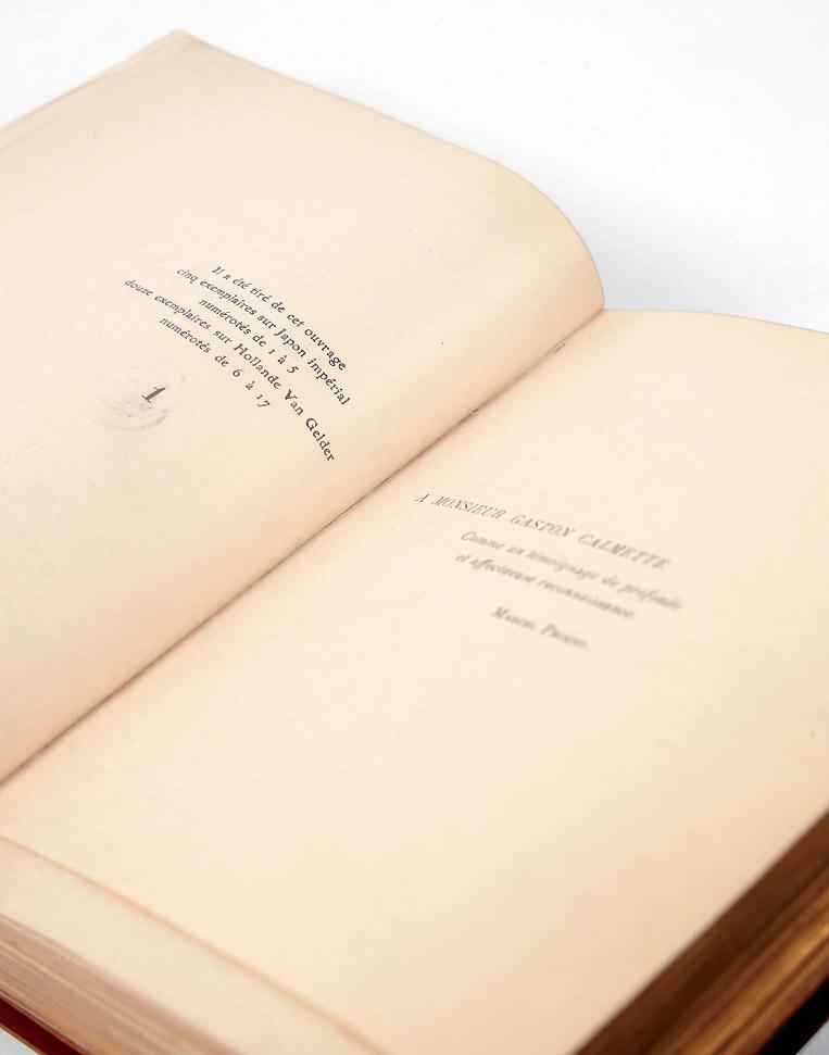 « <em>Il a été tiré de cet ouvrage cinq exemplaires sur Japon impérial numérotés de 1 à 5</em> ». © Pierre Bergé &amp; Associés.
