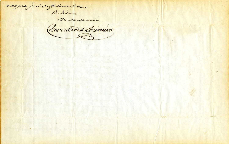 Lettre de Chevalier de Lorimier, prison de Montréal, à son ami Guillaume Lévesque, 15 février 1839, page 2. © Bibliothèque et Archives nationales du Québec Vieux-Montréal (Collection rébellion de 1837-1838, P224,S1,P78)