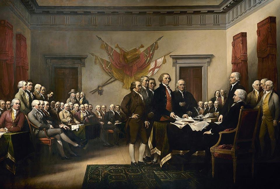 John Trumbull, La Déclaration d'indépendance, 1819, capitole des États-Unis. John Adams est le premier personnage debout, sur la gauche. John Hancock est assis, sur la droite.