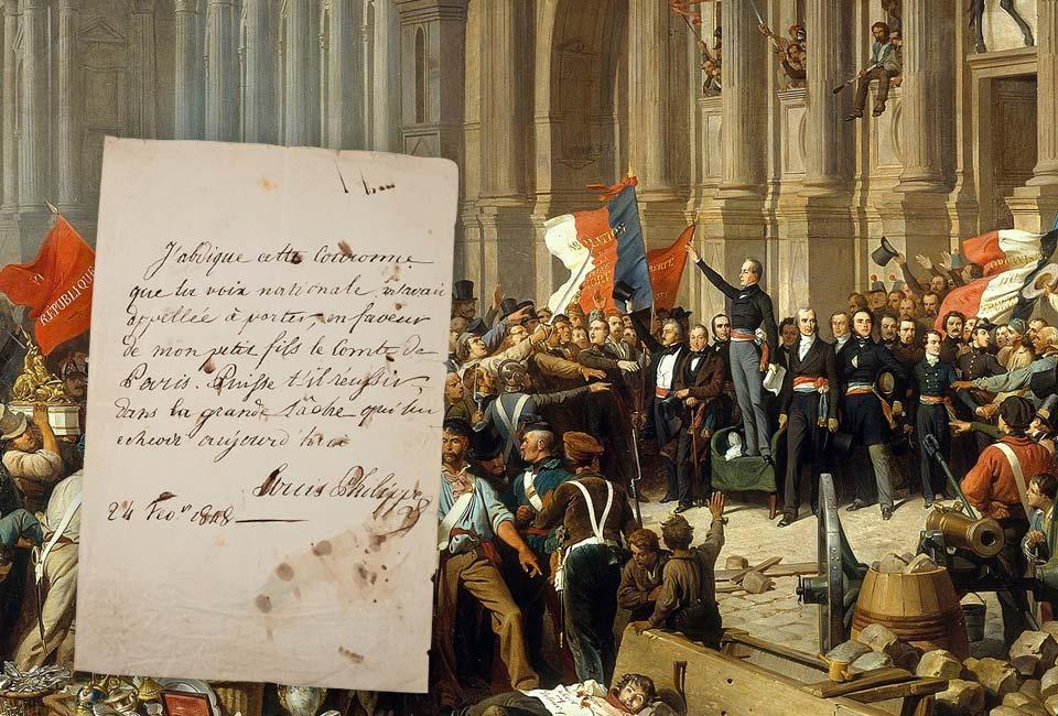 Peinture : Henri Félix Emmanuel Philippoteaux, Lamartine refusant le drapeau rouge devant l'Hôtel de Ville, Petit Palais (PDUT1468). Document : Acte d'abdication de Louis-Philippe Ier (3ème copie), © Ruellan Auction.
