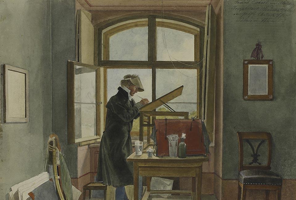 Johann Adam Klein, Le Peintre Johann Christoph Erhard dans son atelier, 1818. Aquarelle sur un tracé au graphite. © Musée d'État des Beaux-Arts Pouchkine, Moscou.