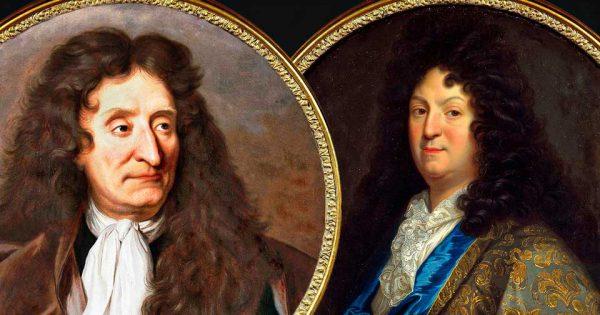 Portrait de Jean de La Fontaine par Hyacinthe Rigaud, 1690. Musée Carnavalet (P. 2441). Portrait de Jean Racine d'après Jean-Baptiste Santerre.