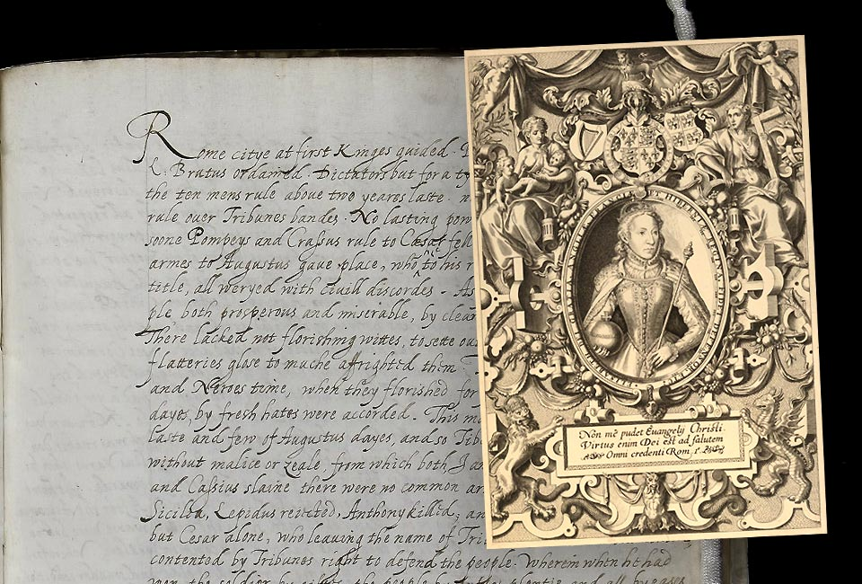 Manuscrit : Traduction de Tacite par Élisabeth I, photo © Lambeth Palace Library. Gravure : Frontispice de la Bible des Évêques, 1568.