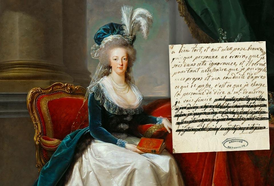 Elisabeth Louise Vigée-LeBrun - Reine Marie-Antoinette assise, en manteau bleu et robe blanche, tenant un livre à la main, 1788. Château de Versailles (L 3591). Lettre de Marie-Antoinette à Axel de Fersen, 4 janvier 1792. Archives Nationales.