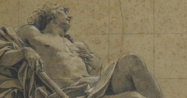 Simon Vouet, étude pour une figure d'Endymion. Dessin, pierre noire, rehauts de craie blanche sur papier brun, vers 1630. © Musée des Beaux-Arts de Rouen.