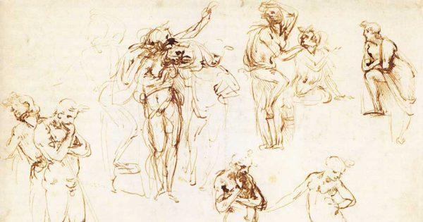 Léonard de Vinci - Feuille d'études pour l'Adoration des Mages. Plume et encre brune sur tracé préliminaire à la pointe de plomb. © Beaux-Arts de Paris (EBA 424)
