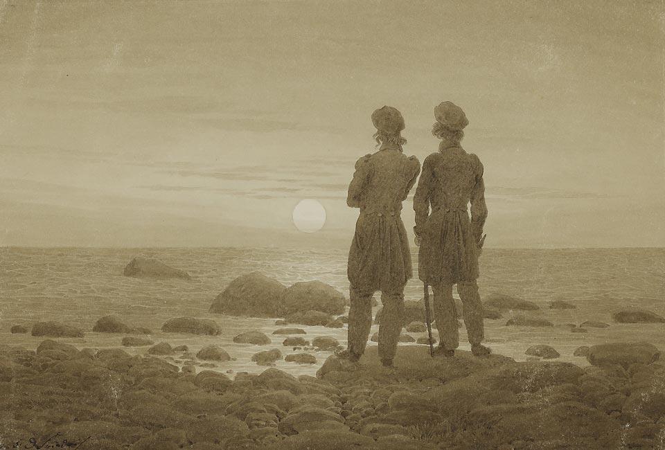 Caspar David Friedrich, Deux hommes au bord de la mer, 1830-1835. Pierre noire, plume et encre brune, lavis brun (sépia). © Musée d'État des Beaux-Arts Pouchkine, Moscou.