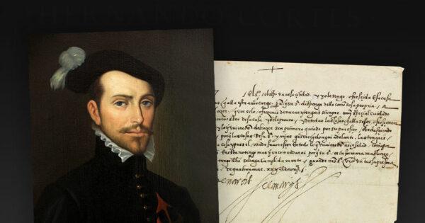 Portrait anonyme d'Hernán Cortés, Museo Naval de Madrid. Lettre d'Hernán Cortés adressée à son assistant, lui ordonnant d'offrir l'hospitalité à un évêque en visite, adjugée 32 500 dollars chez Swann Galleries le 27 avril 2017. © Swann Galleries.
