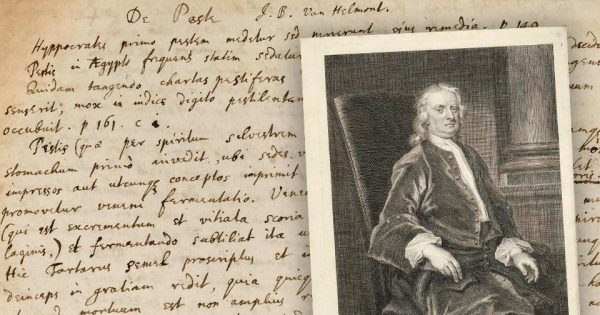 Manuscrit : Isaac Newton, manuscrit autographe sur la peste. © Bonhams. Gravure : Sir Isaac Newton par George Vertue.