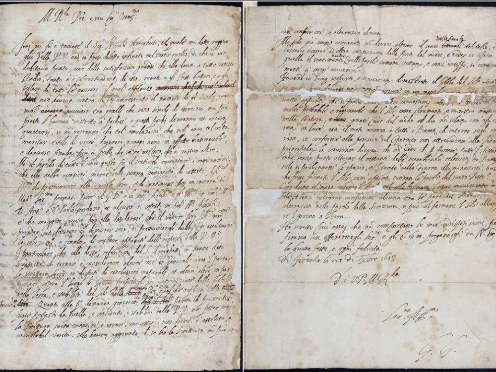 La lettre de Galilée adressée le 21 décembre 1613 à Benedetto Castelli. © The Royal Society