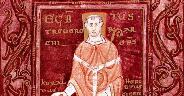 Codex Egberti. L'archevêque Egroned reçoit le livre de deux moines de l'île de Reichenau. Stadtbibliothek Weberbach.