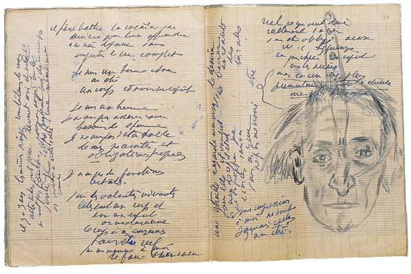 """Antonin Artaud, cahier, avec """"autoportrait au couteau"""", mars 1947. © Bibliothèque nationale de France (Manuscrits, fonds A. Artaud, cahier 253, f. 18vo-19)."""