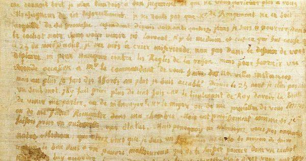 Jean Henri Masers de Latude, lettre écrite sur du linge avec son sang. © Bibliothèque nationale de France (Arsenal, manuscrit 11693).