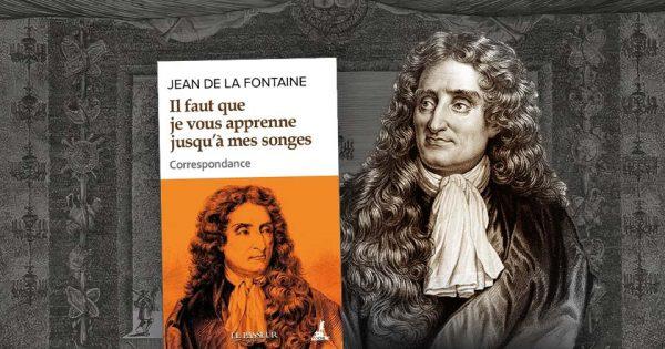 Portrait de Jean de La Fontaine. À l'arrière-plan, La Fête donnée par Louis XIV à Versailles en 1664, Musée national des châteaux de Versailles et de Trianon.