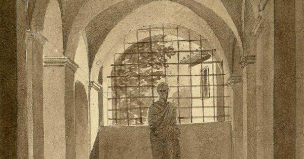 François Debret (1777-1850), Vestibule d'un petit palais (Rome). Institut national d'histoire de l'art - Collections de l'Ecole Nationale Supérieure des Beaux-Arts.