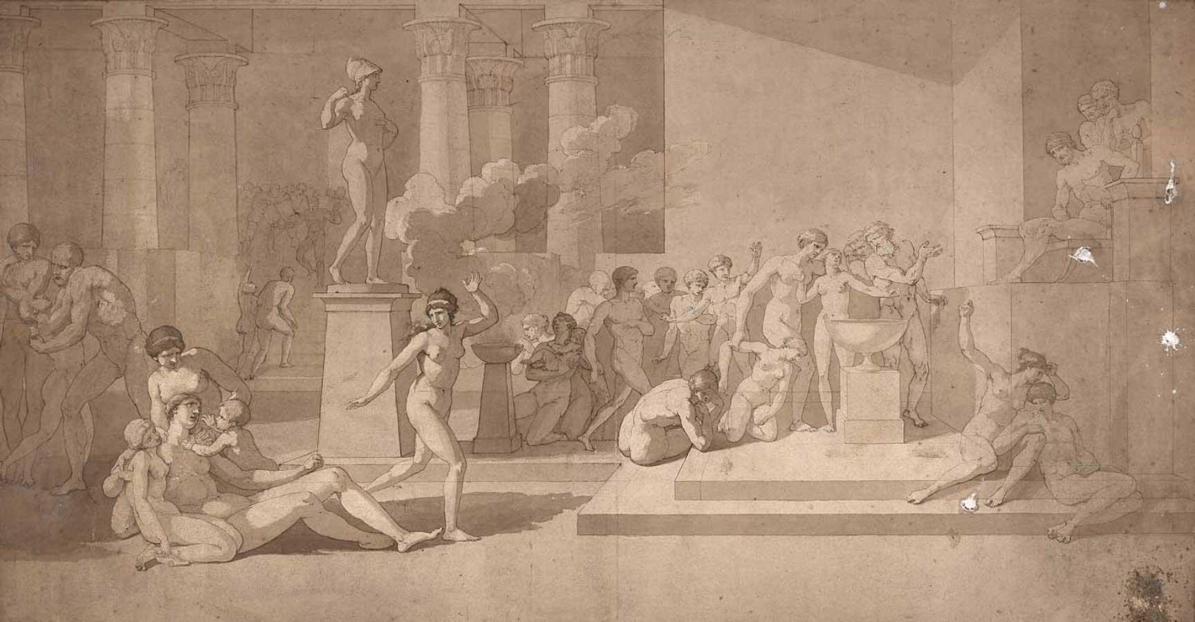 Pierre Peyron, étude pour Les jeunes Athéniens et les jeunes Athéniennes tirant au sort pour être livrés au Minotaure, figures nues. © SVV Millon