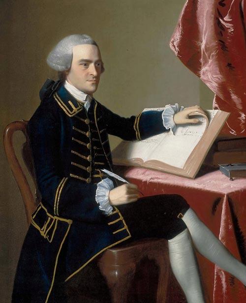 Portrait de John Hancock par John Singleton Copley, 1765, musée des Beaux-Arts de Boston.